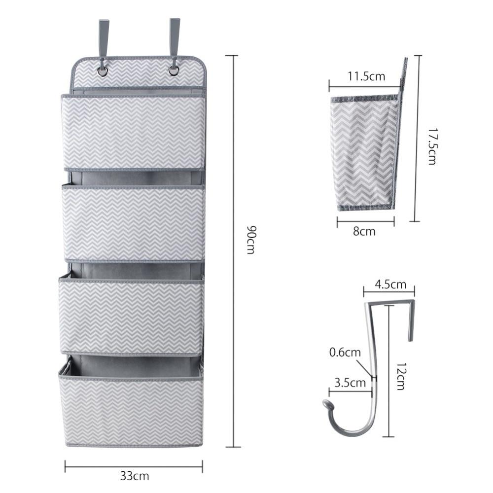 Image 2 - High Quality 4 Pockets Door Back Wall Bedside Cabinet Wardrobe Hanging Bag Storage Organizer for Sundries Underwear ToysHanging Organizers   -