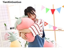 large 50cm cute pink strawberry fruit plush toy creative pillow down cotton soft throw pillow birthday gift s0640