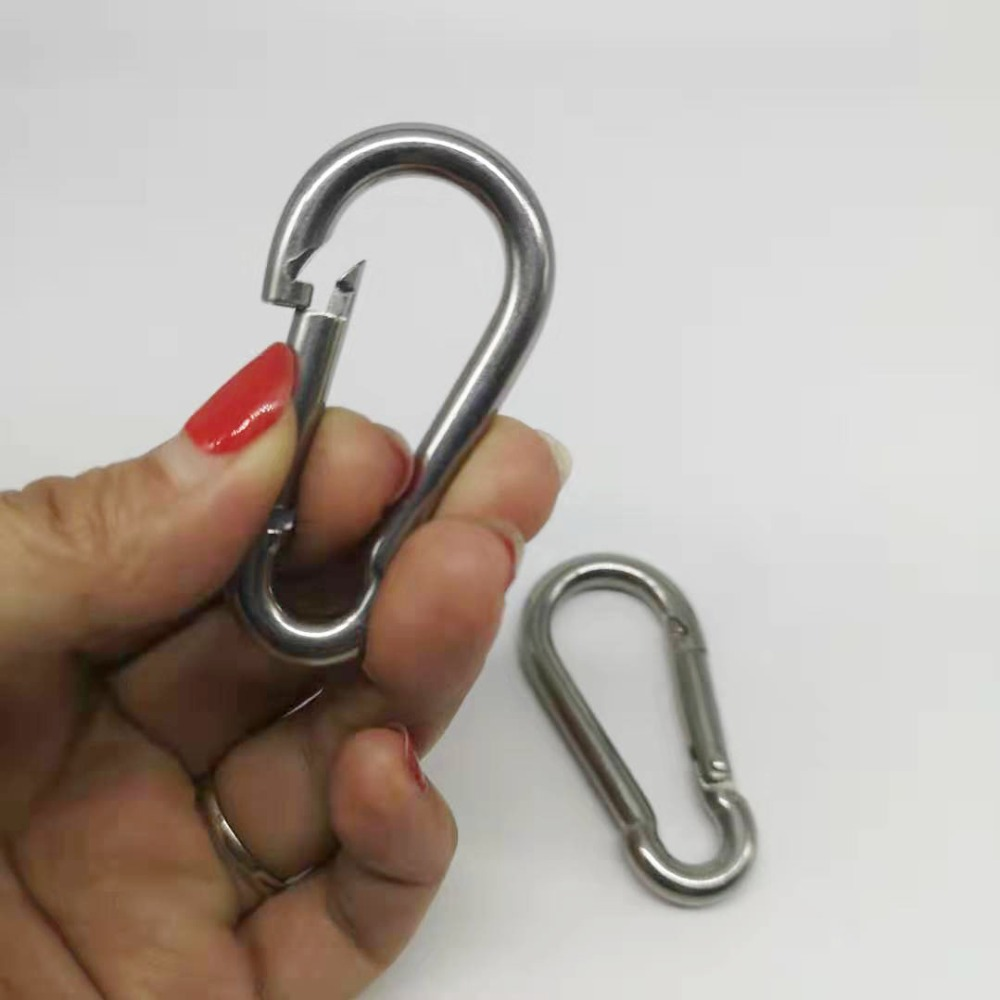 2pcs 6mm M6  304 Stainless Steel Carabiner  Snap Hook Outside Opening 304
