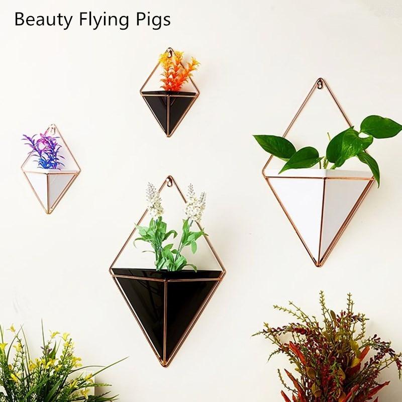 Blume Topf + Eisen Anlage Halter Set Innen Hängen Pflanzer Geometrische Vase Wand Decor Container Sukkulenten Pflanzen Töpfe