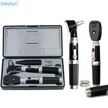 Blessfun 2 In 1 Professionele Diagnostische Medische Oor Oogzorg Led Fiber Otoscoop Oogspiegel Tool Sets