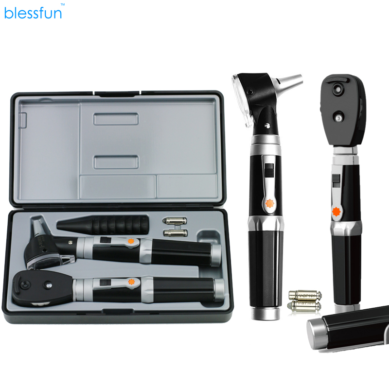 Blessfun 2 in 1 Professional Diagnostic Medical Ear Eye Care LED Fiber Otoscope Ophthalmoscope Tool sets 3x professional fiber optic medical otoscope physician earcare diagnostic ent kit halogen illumination light hs ot10 with box