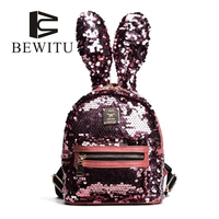 Children 2017 Female Rabbit Ears Bag The Deformation Of Sequins Backpack Fashionista Adorable Cute Korean School
