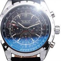 החדש JARAGAR מכאני בציר שעוני גברים עיצוב אוטומטי 24 שעה לוח שנה בנד שעון יד עור גברים Relogio Masculino