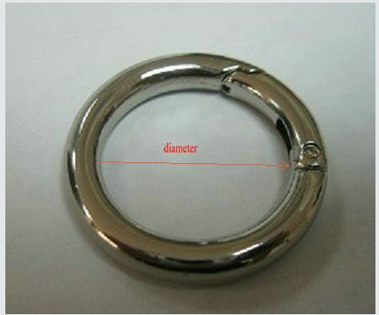 Zinc Alloy Nickel Finish Spring Gate O Ring With Dia. 1.5 inch 38mm Silver O ring 35pcs/lot
