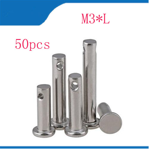 clevis pin free shipping 50pcs/lot M3*L 3mm M3 304 stainless steel Clevis Pin,Flat head cylindrical pin with hole 50pcs lot d5 0mmx50mm 2flutes flat 100