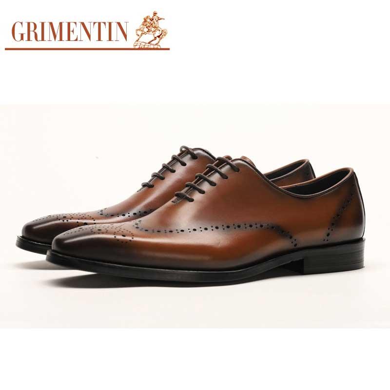 5f5ffc444967 Classique Bureau Black Cuir Véritable D affaires Grimentin D aile Le Rétro  Chaussures En Robe brown Mens Bout Pour ...