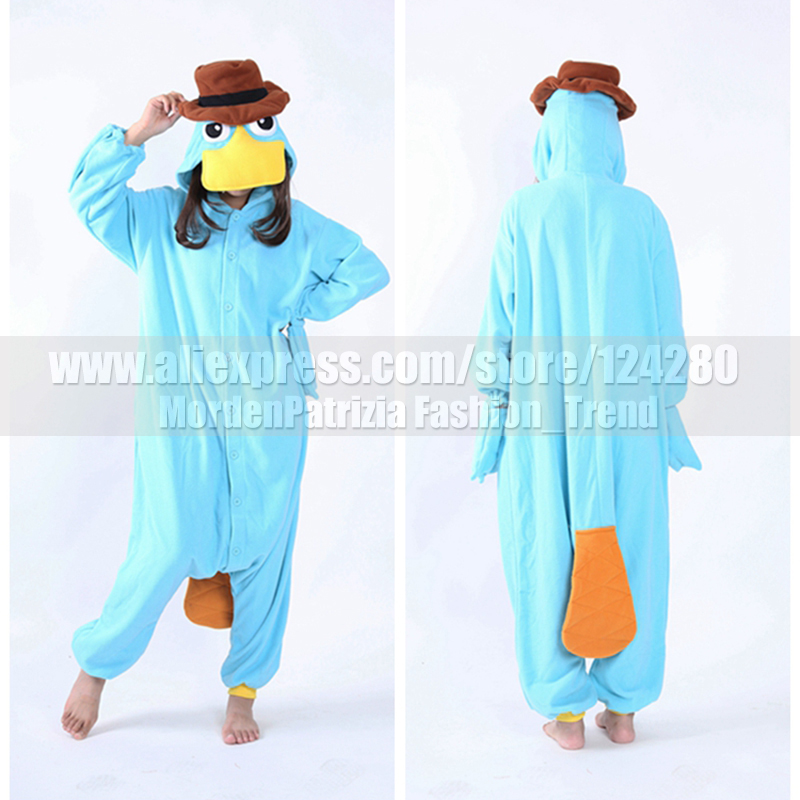 NEW Adult Women Men Perry the Platypus Costumes onesies Fleece Monster Cosplay Pajamas Pyjamas Sleepwear Winter Halloween Party