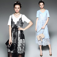 Runway Designer Two Piece Sexy Lace Dresses 2017 Summer Women's High Quality European Style Plus Size Casual Dress