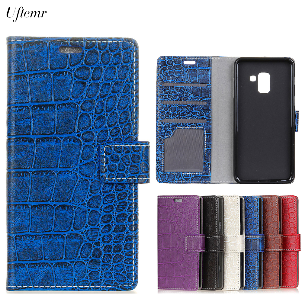 Uftemr Vintage Crocodile PU Leather Cover For Samsung Galaxy A5 2018 Protective Silicone Case Wallet Card Slot Phone Acessories