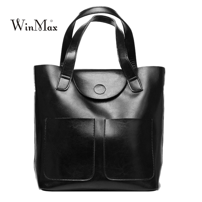 New Women Genuine Leather Handbags Shoulder Bag Oil wax Cow Leather Tote Bags Female Vintage Handbags Sac a Main Ladies Hand Bag women leather handbags shoulder bag women s casual tassel tote bag female vintage handbags sac a main ladies hand bags