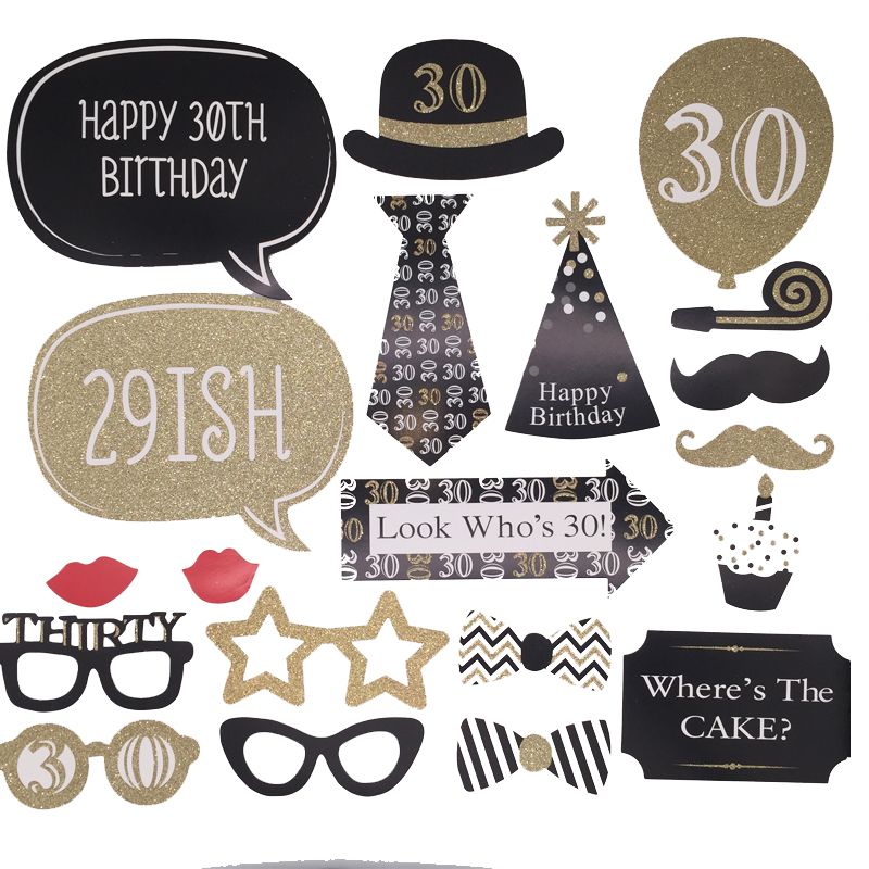 Photo Booth Props Happy Birthday Party Decorations Man Woman 30th 40th 50th Fun Photobooth