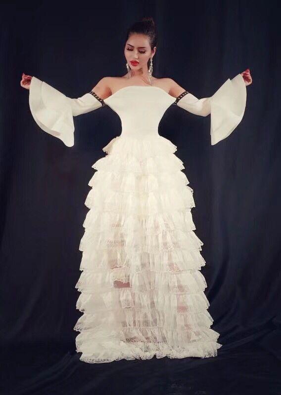 Couleur blanche dames HL Bandage robe Sexy dentelle deux pièces étage longueur robe danse robe de soirée de haute qualité