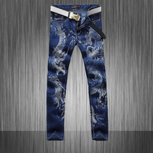 High Quality ! New 2015 style male blue print dragon paint denims males's persona denim skinny  slim washed denims MB568 Z20