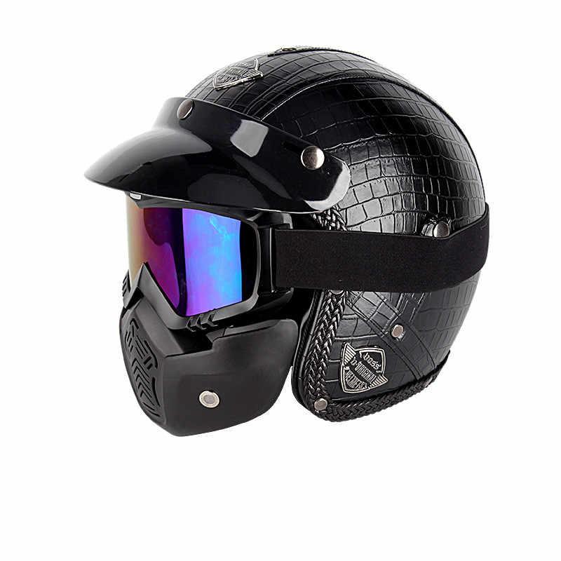 Gorąca sprzedaż otwarta twarz pół PU skórzany kask Moto kaski motocyklowe vintage motocykl nakrycia głowy Casque Casco