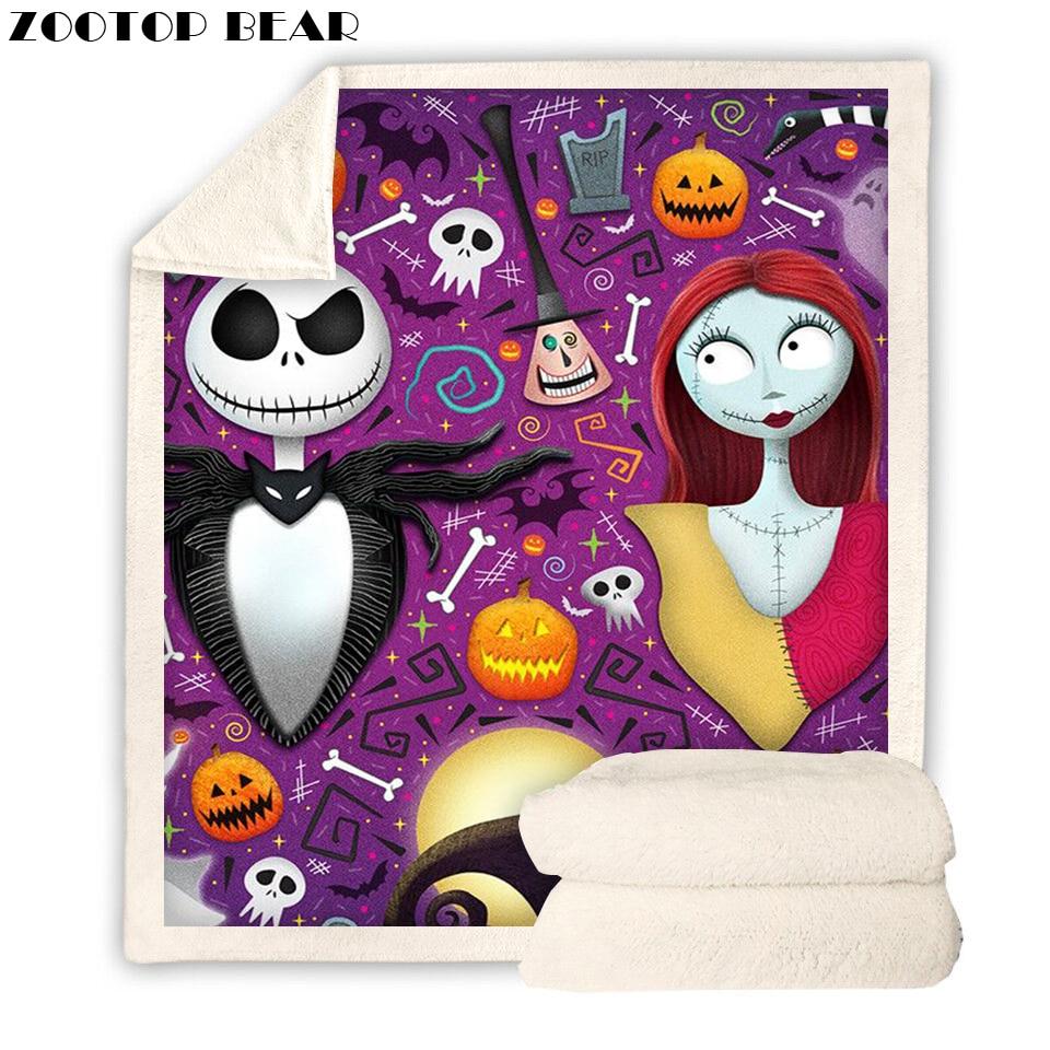 Nightmare Before Christmas Blanket Plush 3d Cartoon Print Sherpa