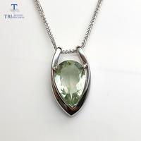 TBJ ,V shape pendant in 925 sterling silver with nautral green amethyst cut pe10*15 with gift box,elegant design pendants