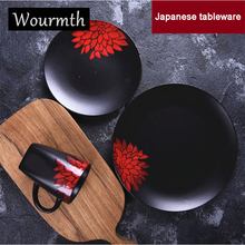 Wourmth Japanese Style Ceramic Dinnerware Steak Dinner Plate Soup Bowl Food plate Creative Kitchen Tableware Household dishes