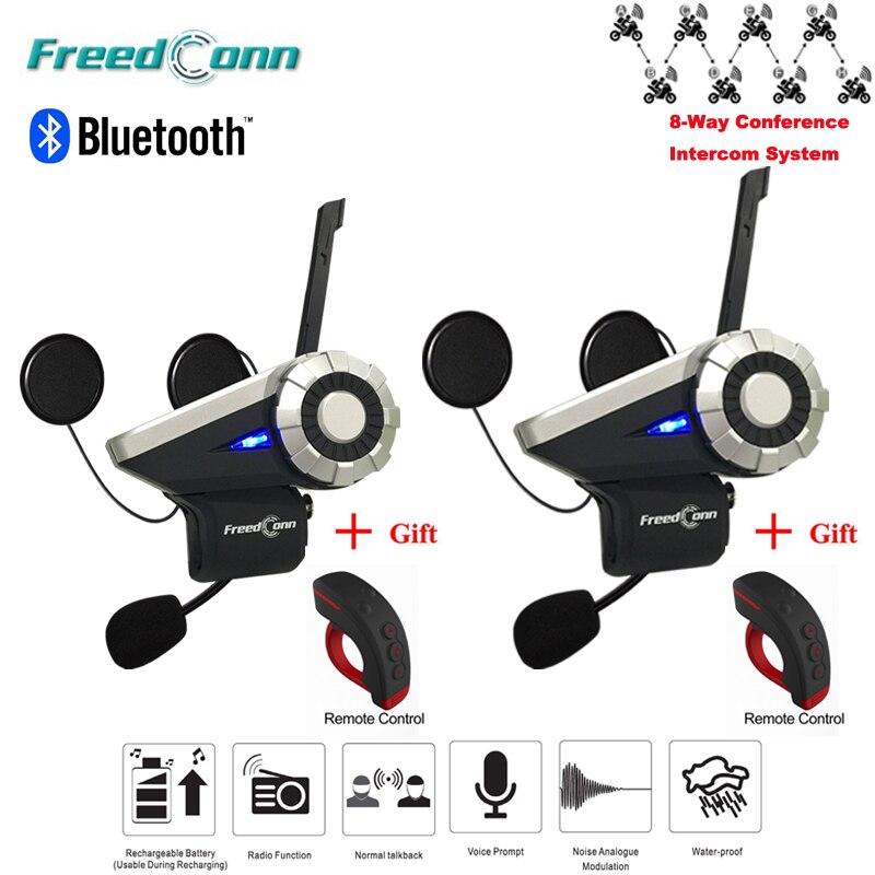 2pcs T Rex Bluetooth helmet intercom 1 5KM 8 Way Radio Wireless Interphone Sharing AUX Input
