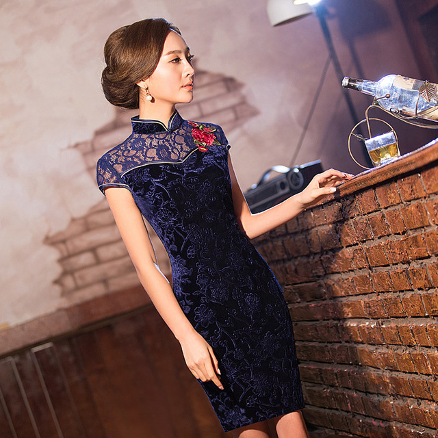 TIC-TEC chinese cheongsam short qipao women velvet lace embroidery tradicional elegant party oriental dresses clothes P3048