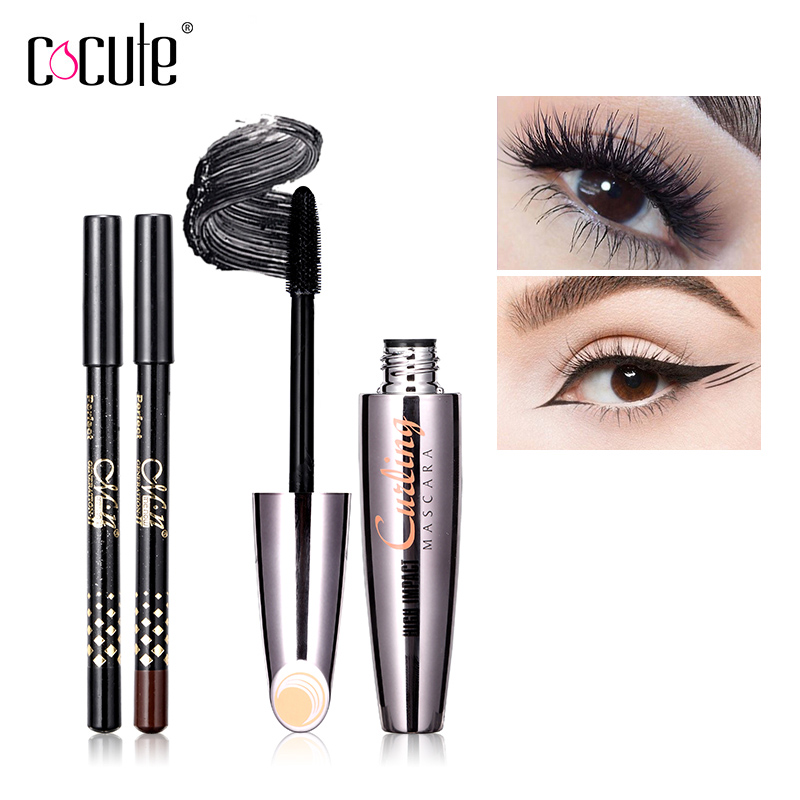 a645671d36e Mascara with 2pcs Eyebrow Eye Pencil Long wearing Cosmetics 3D Fiber Lashes  Lengthening Thick Curling Waterproof