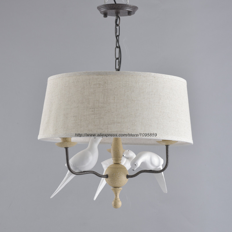 Modern Bird Chandelier For Living Room Contemporary Country Style Round Linen Lampshade D 50cm In Chandeliers From Lights Lighting On Aliexpress