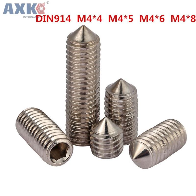 AXK M4*4 M4x4 M4*5 M4x5 M4*6 M4x6 M4*8 M4x8 316 Stainless Steel DIN914 Inner Hexagon Socket Allen Head Grub Cone Point Set Screw цена 2017