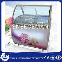 A baixa temperatura de gelo do congelador mostrar creme armários