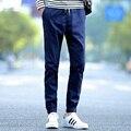 Мужчины карандаш брюки 2017 новый осенний мужской лодыжки длина брюки тонкий хлопок молодежи студент повседневная 4XL синий черный красный