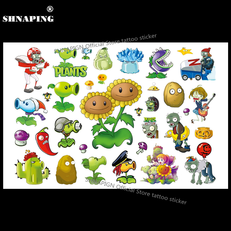 SHNAPIGN Plants Vs Zombies Child Temporary Tattoo Body Art Flash Tattoo Stickers 17*10cm Waterproof Henna Tatoo Styling Sticker