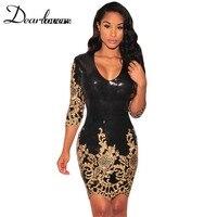 Dear Lover Black Gold Sequins 3 4 Sleeves Bodycon Dress