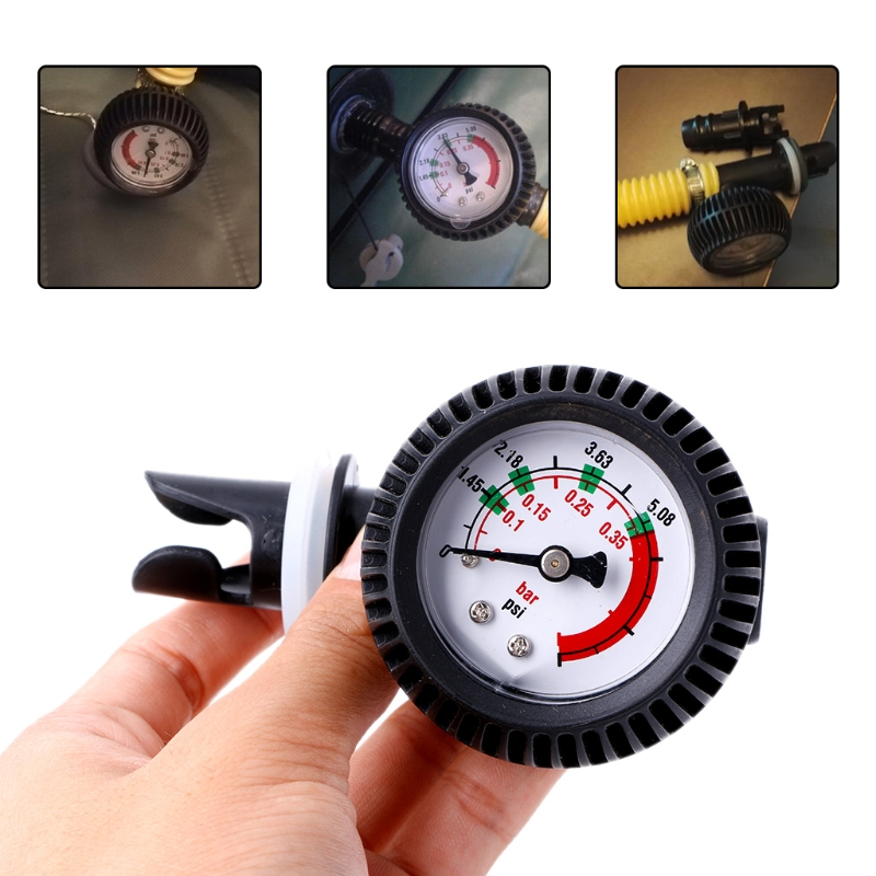 5.08 PSI Air Pressure Gauge Thermometer Connector For Inflatable Boat Kayak Raft Surfing