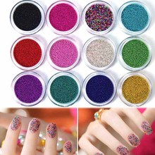 12 Color Caviar Beads Nail Glitter Power Dust Gem 3D Nail Art Sticker Decorations Gel Polish Tips Nail Tool -27
