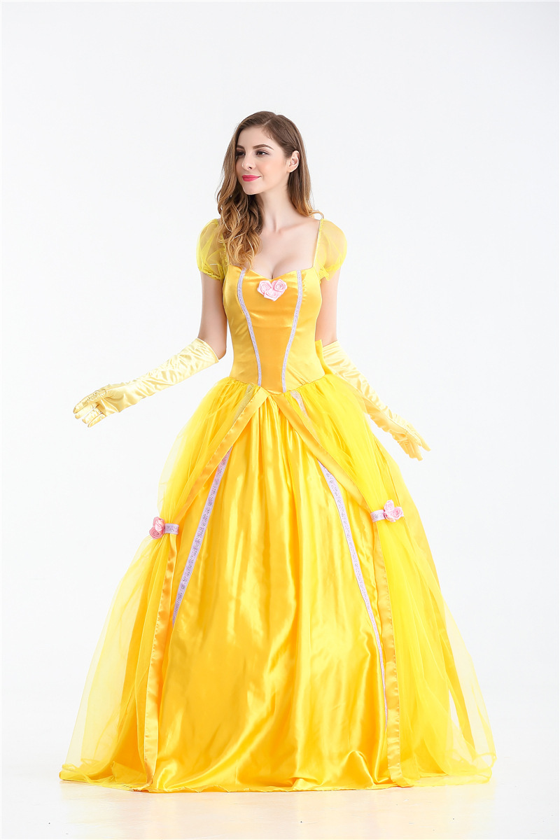 Vocole Adult Women Beauty And The Beast Princess Belle Costume Halloween  Cosplay Yellow Long Dress Fancy Drsses Size S-2XL 19c1f7fa7bf4