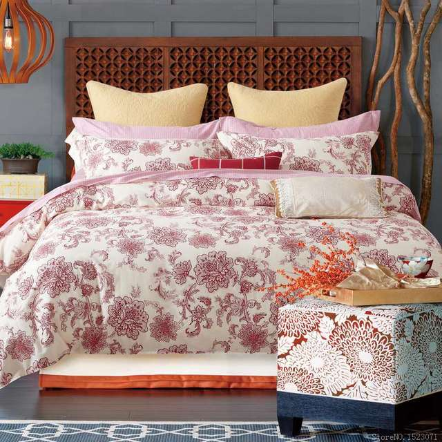 Oriental red floral duvet covers queen bedding sets cotton bedspreads  sheets girls bedding sets quilt covers