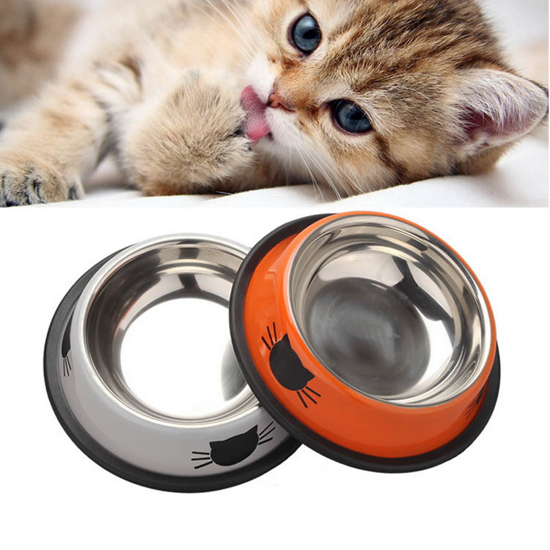1Pcs Dog Cat Food Bowls Stainless Steel Pets Drinking Feeding Bowls Pet Supplies Anti skid Dogs