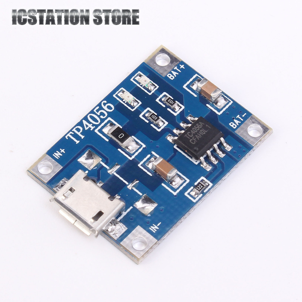 10pcs 5V 1A Micro USB 18650 Li-ion Lithium Battery Charging Protection Board Charger Module TP4056 For Arduino 18650 lithium battery 5v micro usb 1a charging board with protection charger module for arduino diy kit