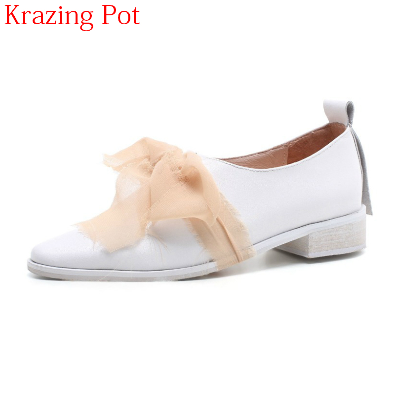 2018 Superstar Genuine Leather Slip on Spring Shoes Thick Heel Women Pumps Pointed Toe Classics Butterfly-knot Casual Shoes L4f3 new genuine leather superstar solid thick heel zipper gladiator women pumps pointed toe office lady nude runway casual shoes l88