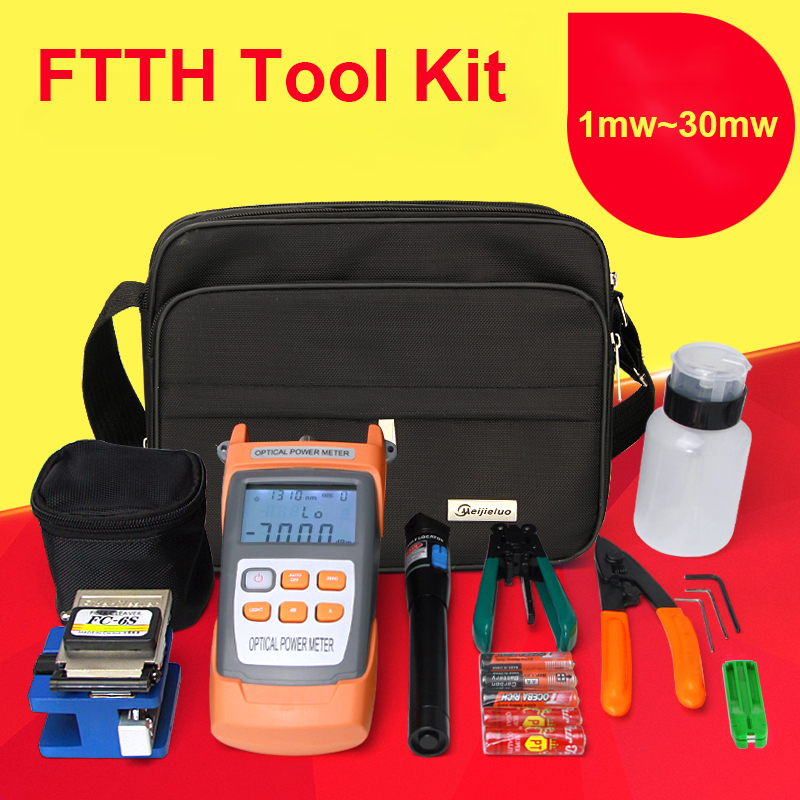 FTTH fiber optic tool kit FC 6S Fiber Cleaver Optical Power Meter 5 30km Visual Fault