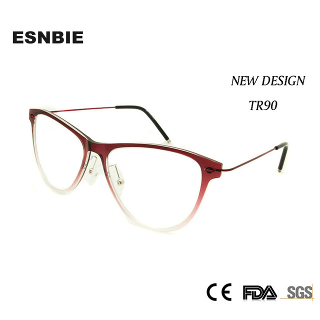 ESNBIE Novas Mulheres Óculos de Prescrição Óculos de Armação TR90 Gradiente  Vermelho Super leve Moda oculos a1c9bd6e0d