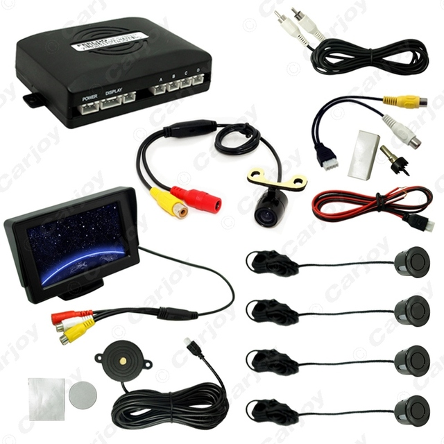 "Car 4.3"" LCD Monitor 4-sensor Parking Sensor 16.5mm Mini CCD Camera Reversing Rearview Parking System $CA962"