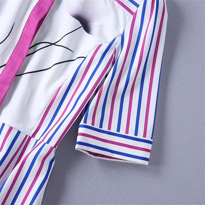 Bas Robe De Xl Bleu Multi En Blanc Célèbre Vers Gros Bande Femmes Manches Chemise Prix Rose Somen Vêtements Moitié Tournent Marque D'été Le 1qq7wv