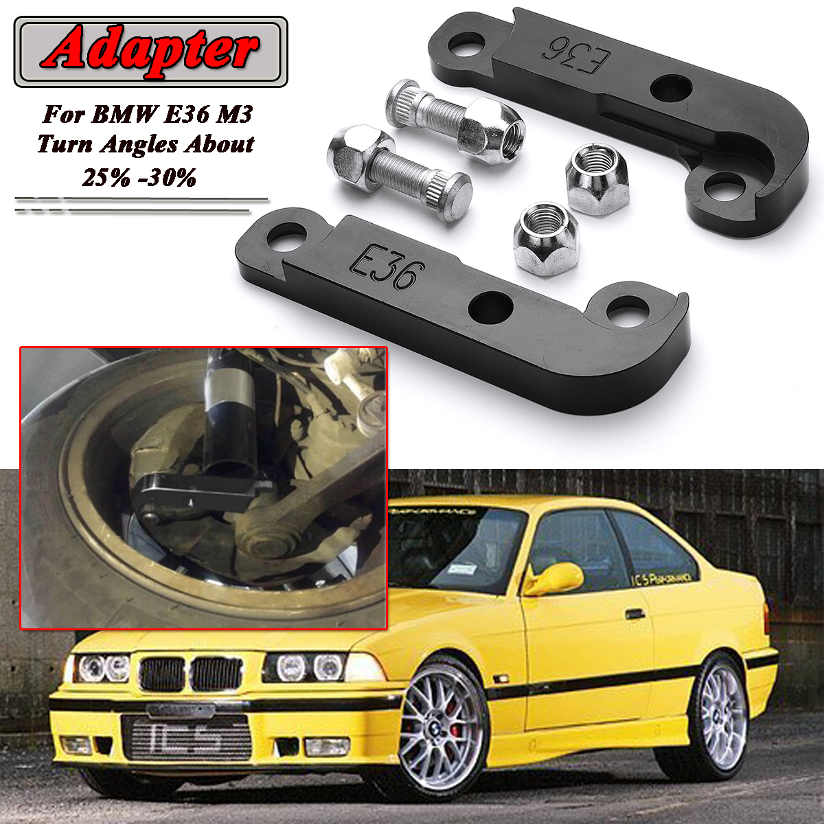 medium resolution of 2pcs red black adapter increasing turn angles about 25 30 drift lock kit for bmw e36 m3 tuning drift power adapters mounting in axle parts from