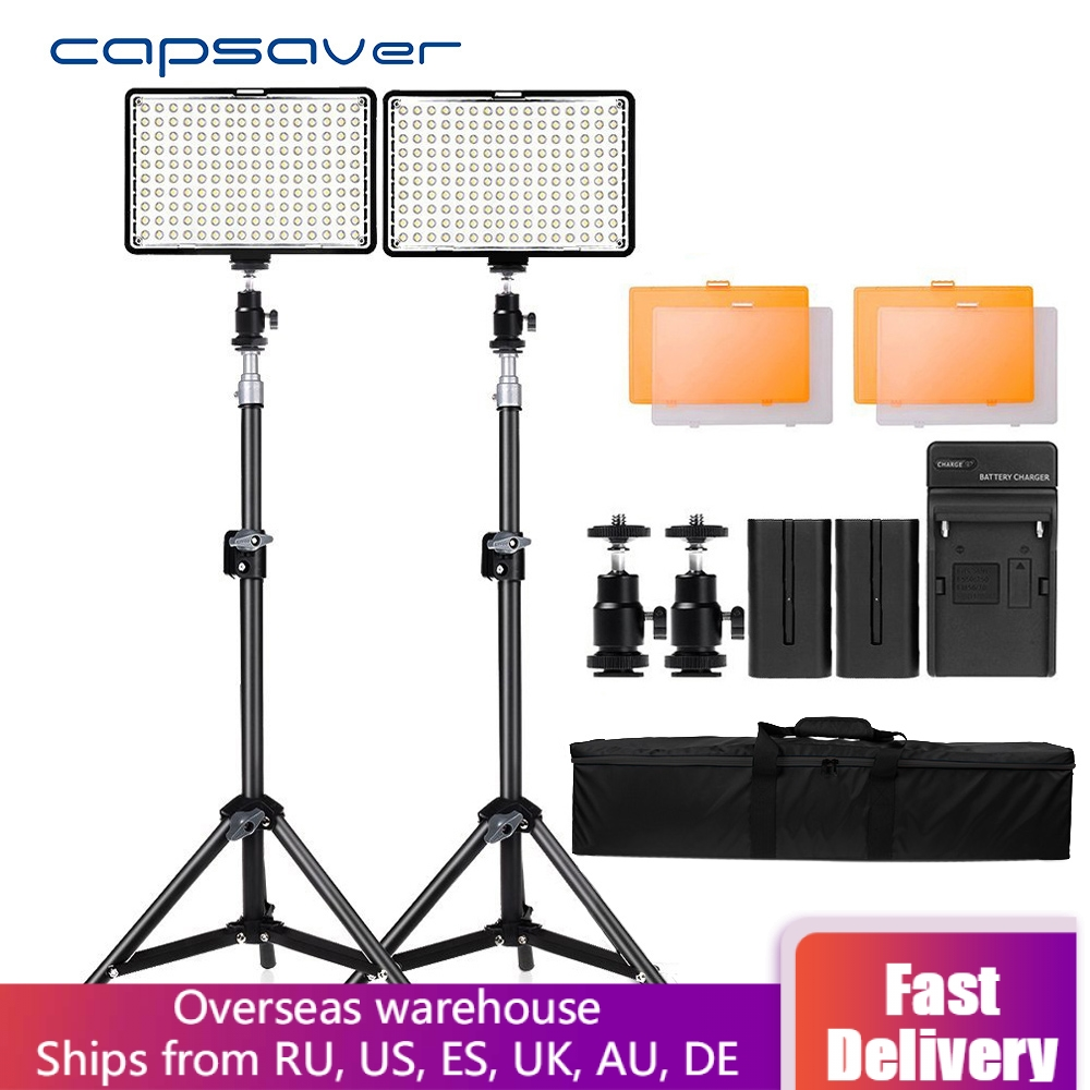 Capsaver TL-160S 2 Sets LED Video Light Camera Light Photographic Lighting With Tripod Stand Video Lamp For Youtube Photo Shoot