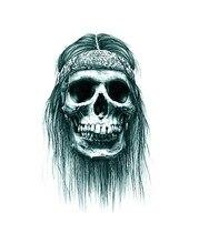 Long Hair Captain Jack Sparrow Skull Pattern Long Lasting Temporary Tattoos Fake Sleeve Tattoos AX100