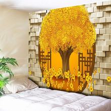 Rich Tree Golden Brick Wall Art Decor Large Wall Tapestry Cheap Bohemian Tapestries Boho Hippie Wall Carpet Living Room Blanket brick scrawl waterproof wall art tapestry