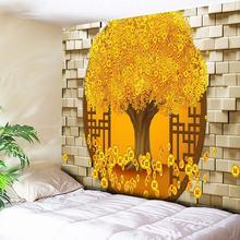 Rich Tree Golden Brick Wall Art Decor Large Wall Tapestry Cheap Bohemian Tapestries Boho Hippie Wall Carpet Living Room Blanket