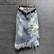 2018 nuevo falda de mezclilla de las mujeres Floral de lentejuelas casuales  de la borla mujeres falda de Jean largo otoño Haraju. 473c04cc5d9e