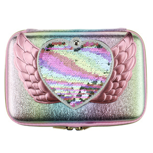 Image 3 - new kawaii Lovely pencil case for girls school pen box mirror pencil bag pen container eva material ribbon sequin stationery bag