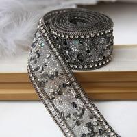 Wedding Dresses High Grade Black Materials Beaded Lace Fabric Trim Decorative Waist Chain Applique Ironing On